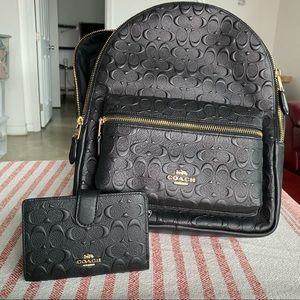 Coach backpack designer signature leather bag🌈